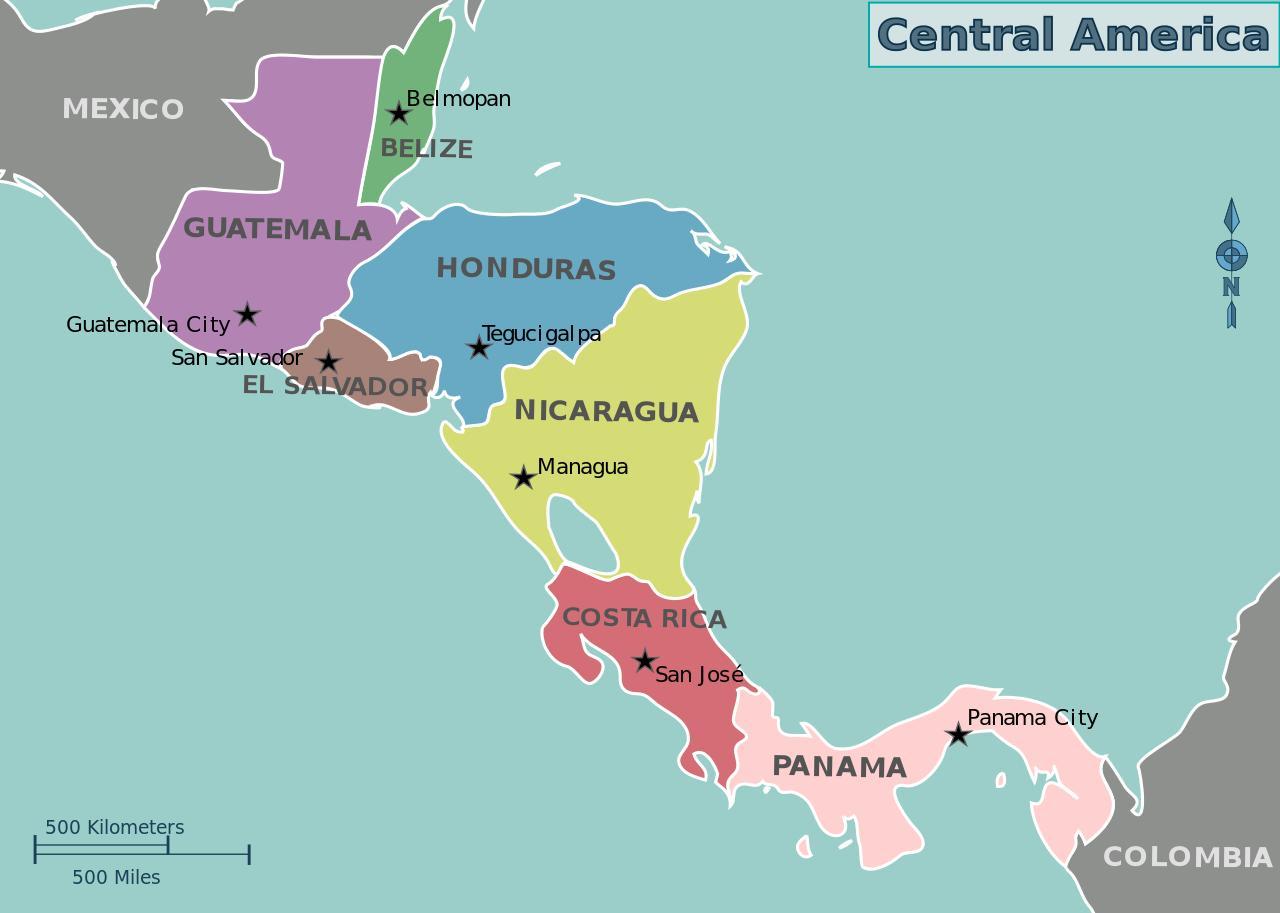 Honduras Karta Centralne Amerike Kartica Hondurasa Karti Srednje