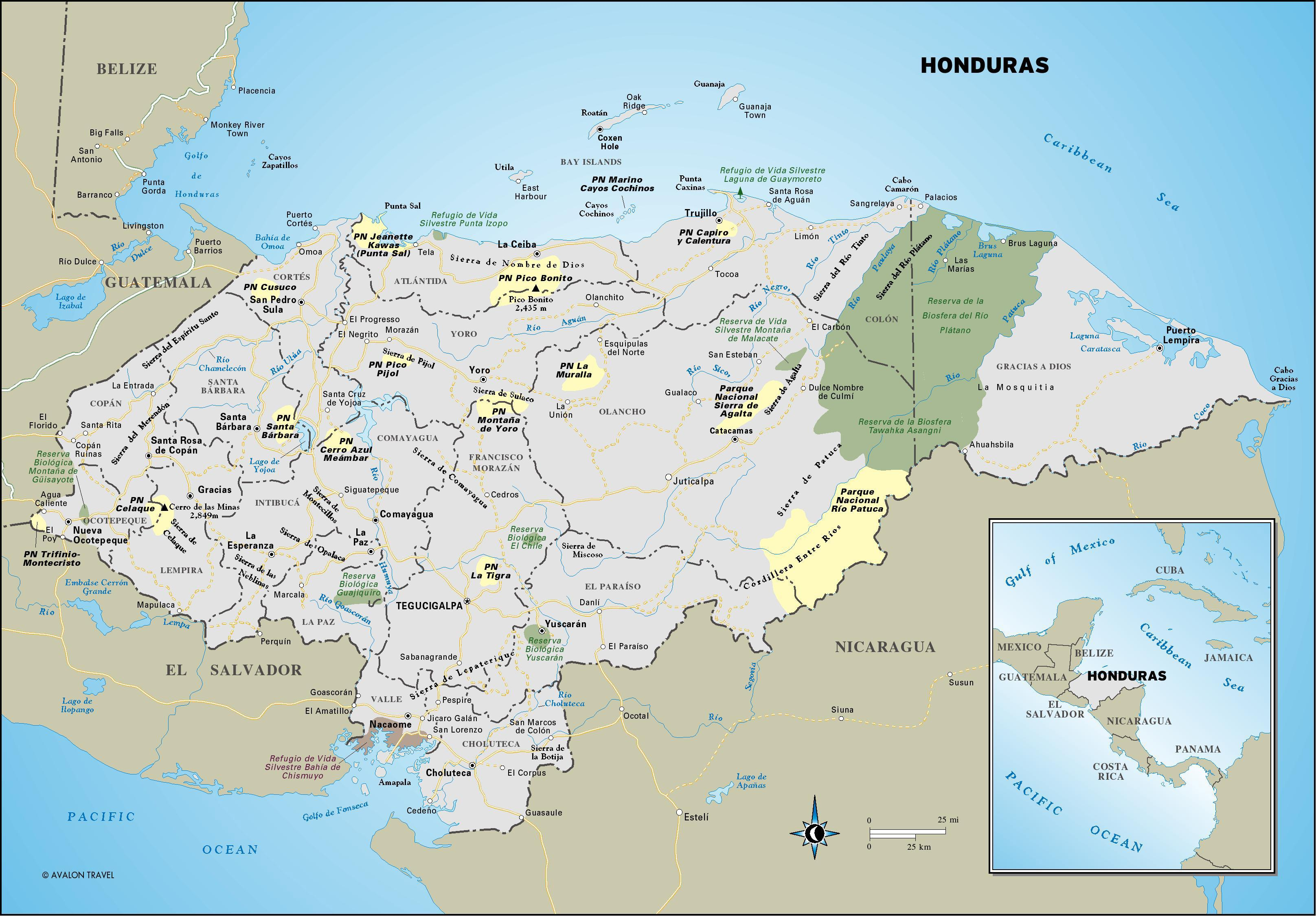 Honduras Turisticka Karta Karta Hondurasa Turist Srednja